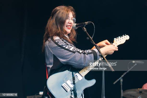 Lucy Dacus performs on the Walled Garden stage during day 3 at Greenman Festival on August 19, 2018 in Brecon, Wales.