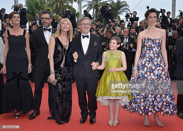 "Lucy Dahl, Jemaine Clement, Kate Capshaw, Steven Spielberg, Ruby Barnhill and Rebecca Hall attend ""The BFG "" premiere during the 69th annual Cannes..."