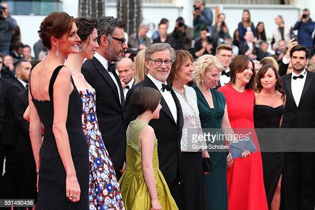 Lucy Dahl Rebecca Hall Jemaine Clement Ruby Barnhill Steven Spilberg Penelope Wilton Claire van Kampen and Frank Marshall attend 'The BFG ' premiere...