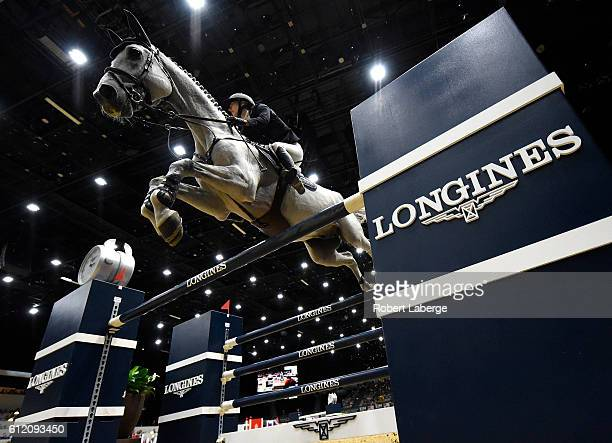 Lucy Davis competes during the Longines Grand Prix event at the Longines Masters of Los Angeles 2016 at the Long Beach Convention Center on October 2...