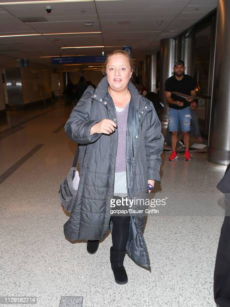 Lucy Davis is seen at Los Angeles International Airport on March 07 2019 in Los Angeles California