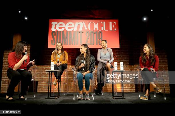 Lucy Diavolo Tracie Jackson Shiloh Lebeau Sarain Fox and Jude Schimmel speak on stage the Teen Vogue Summit 2019 at Goya Studios on November 02 2019...