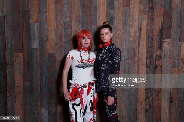 Lucy Dickinson and a model ewearing her designs at The Australian Fashion Foundation Awards 2017/2018 at Pier One on December 19 2017 in Sydney...