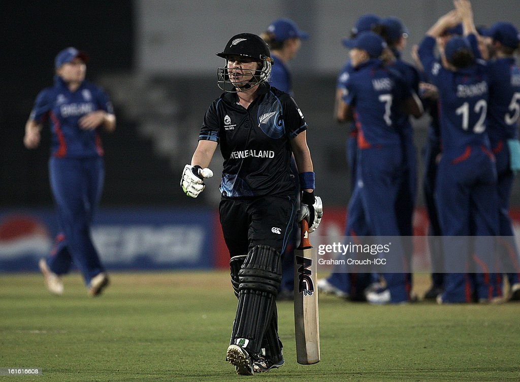 Lucy Doolan of New Zealand departs after being dismissed during of the Super Sixes ICC Women's World Cup India 2013 match between New Zealand and England at the Cricket Club of India ground on February 13, 2013 in Mumbai, India.