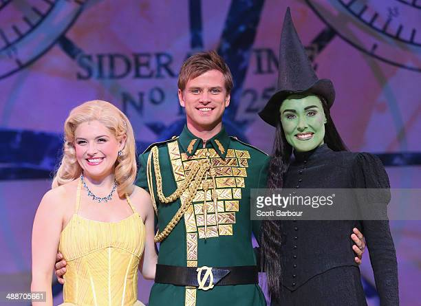 Lucy Durack as Glinda Steve Danielson as Fiyero and Jemma Rix as Elphaba pose during a WICKED production media call at the Regent Theatre on May 8...