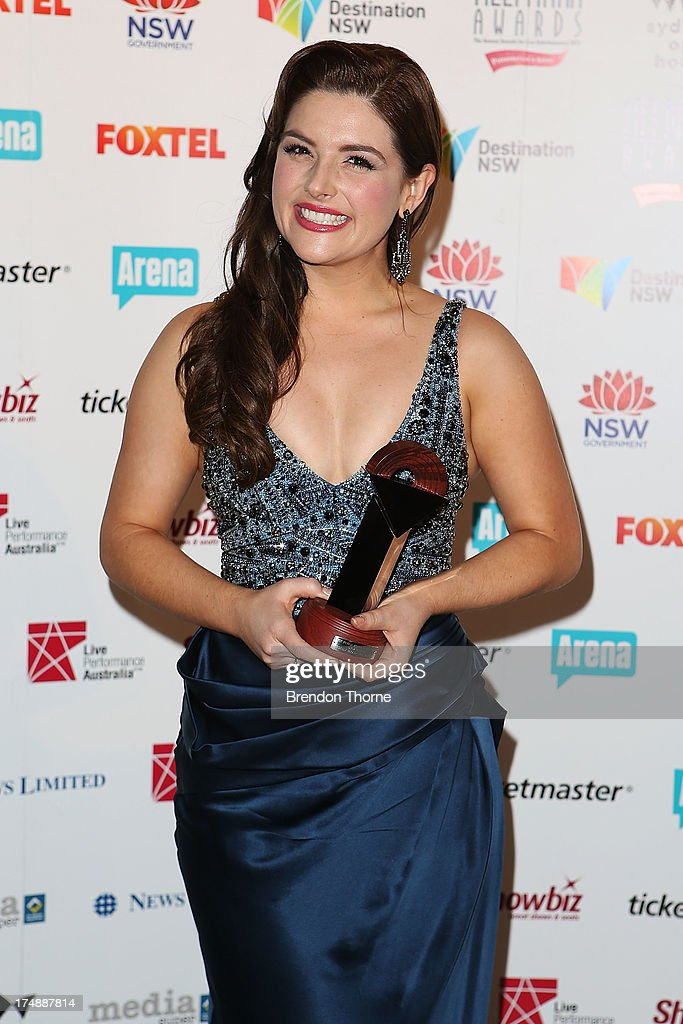 Lucy Durack poses with the award for Best Female Actor in a Musical at the 2013 Helpmann Awards at the Sydney Opera House on July 29, 2013 in Sydney, Australia.