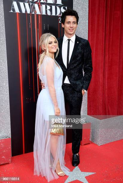 Lucy Fallon and boyfriend Tom Leech attend the British Soap Awards 2018 at Hackney Empire on June 2 2018 in London England