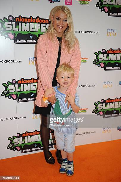 Lucy Fallon and her nephew arrive during the first UK Nickelodeon SLIMEFEST at the Empress Ballroom on September 3 2016 in Blackpool England