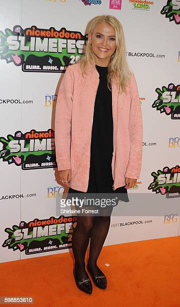 Lucy Fallon arrives during the first UK Nickelodeon SLIMEFEST at the Empress Ballroom on September 3 2016 in Blackpool England