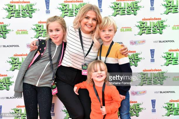 Lucy Fallon her niece and nephews attend the Nickelodoen Slimefest at Blackpool Pleasure Beach on October 19 2019 in Blackpool England