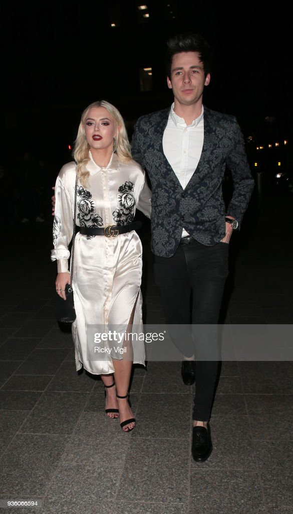 Lucy Fallon seen attending OK! Magazine's 25th anniversary party at The View from the Shard on March 21, 2018 in London, England.