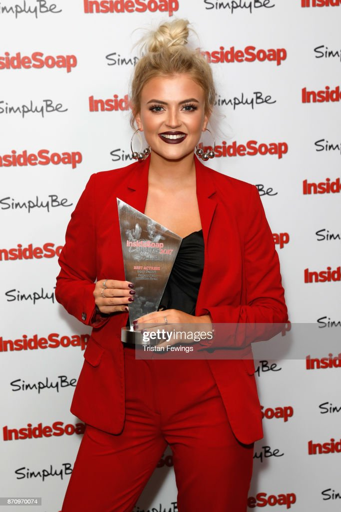 Lucy Fallon, winner of the award for Best Actress, attends the Inside Soap Awards held at The Hippodrome on November 6, 2017 in London, England.