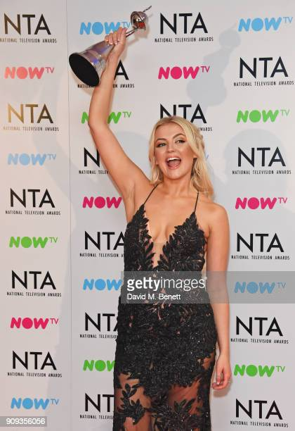 Lucy Fallon winner of the Serial Drama Performance for 'Coronation Street' attends the National Television Awards 2018 at The O2 Arena on January 23...