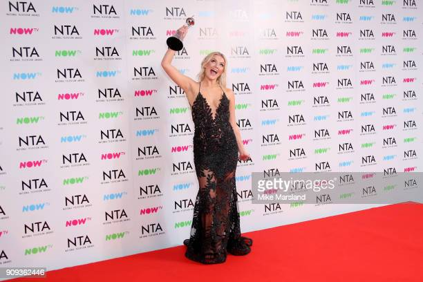 Lucy Fallon winner of the Serial Drama Performance for 'Coronation Street' poses in the press room at the National Television Awards 2018 at The O2...