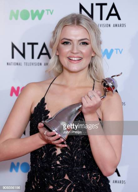 Lucy Fallon with her award for Best Serial Drama Performance during the National Television Awards 2018 at the O2 Arena on January 23 2018 in London...