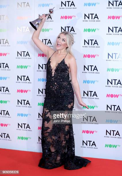 Lucy Fallon with her award for Best Serial Drama Performance in 'Coronation Street' during the National Television Awards 2018 at the O2 Arena on...