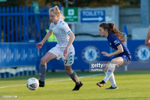 Lucy Fitzgerald controls the ball during the 2020-21 FA Womens Cup fixture between Chelsea FC and London City at Kingsmeadow on April 16, 2021 in...