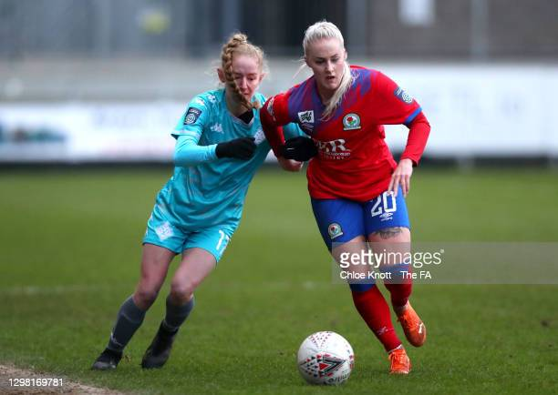 Lucy Fitzgerald of London City Lionesses battles for possession with Ali Johnson of Blackburn Ladies at Princes Park on January 24, 2021 in Dartford,...