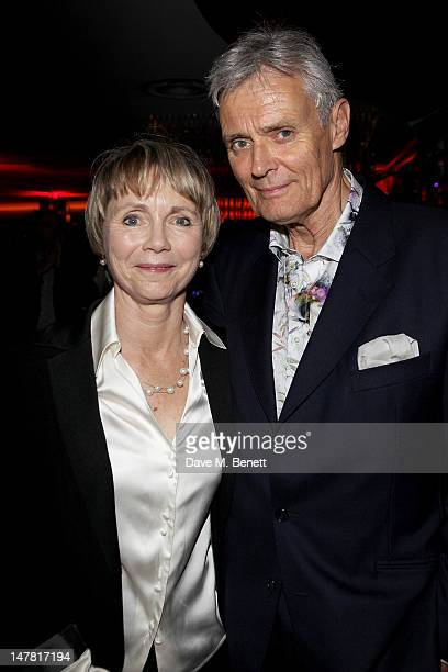 Lucy Fleming and cast member Simon Williams attend an after party celebrating the press night performance of 'Chariots Of Fire' at Floridita on July...