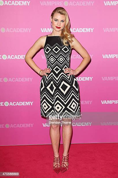 Lucy Fry arrives at the 'Vampire Academy' premiere at Event Cinemas George Street on February 20 2014 in Sydney Australia