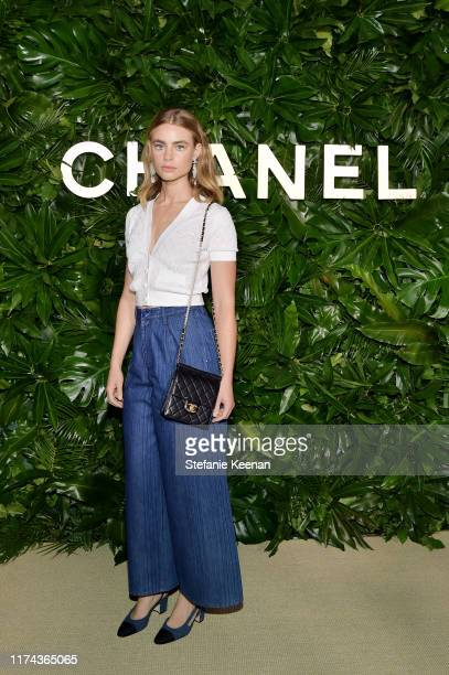 Lucy Frywearing CHANEL attends Chanel Dinner Celebrating Gabrielle Chanel Essence With Margot Robbie on September 12 2019 in Los Angeles California
