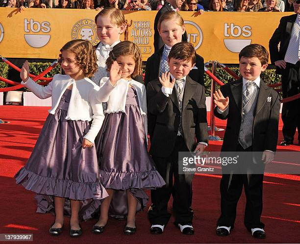 Lucy Gallina Josie Gallina Declan McTigue Rory McTigue Brady Noon and Connor Noon arrive at the 18th Annual Screen Actors Guild Awards held at The...