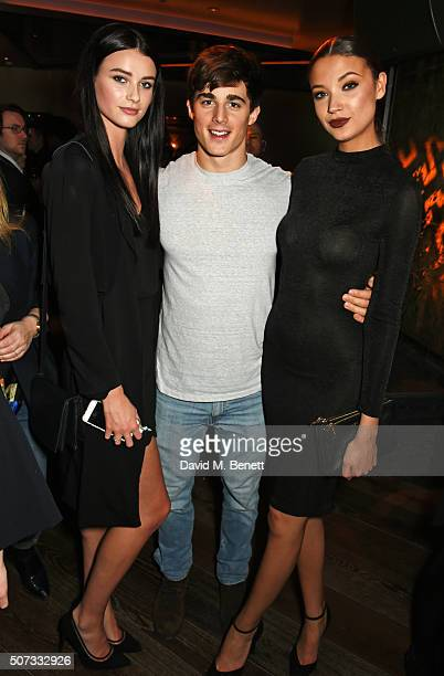 Lucy Gascoyne Pietro Boselli and Candice Blackburn attend the launch of 100 Wardour St on January 28 2016 in London England