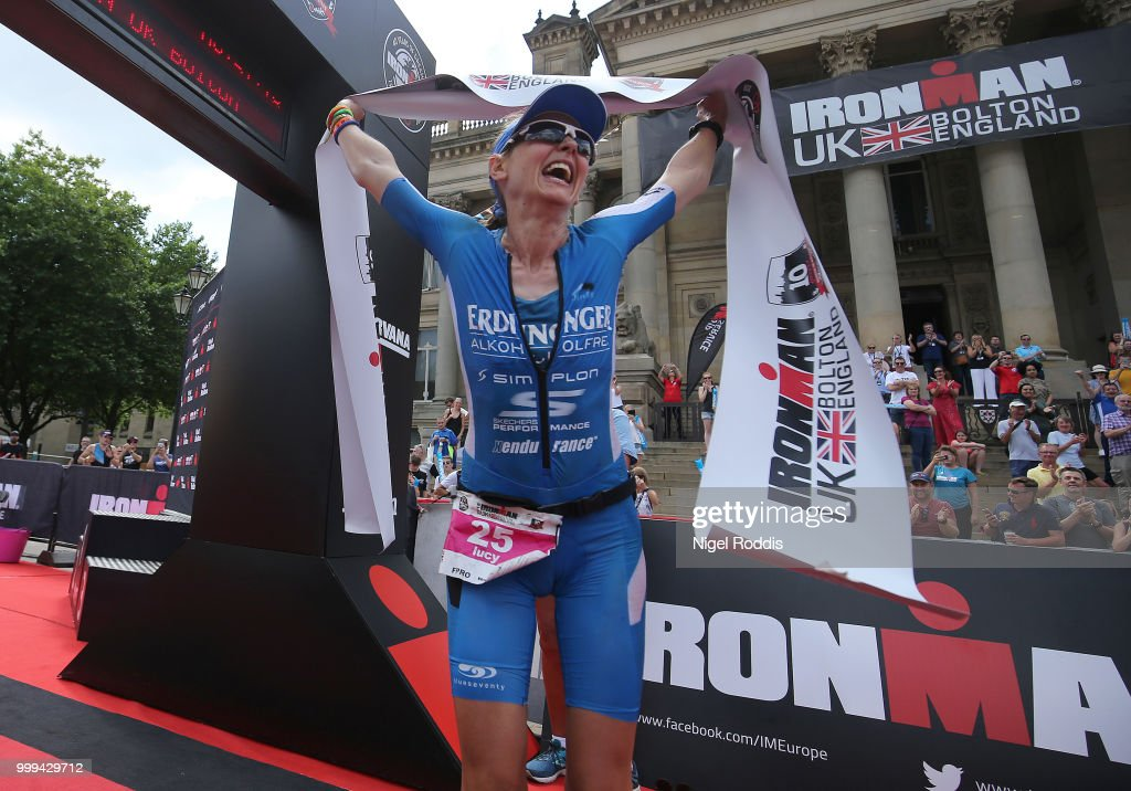 Lucy Gossage of Britain celebrates winning the women's race at Ironman UK on July 15, 2018 in Bolton, England.