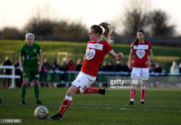 Lucy Graham of Bristol City Women scores her teams first goal from the penalty spot during the FA Women's Super League match between Bristol City...