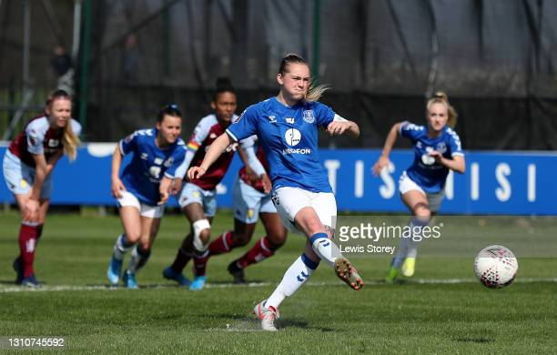 Lucy Graham of Everton has their penalty saved by Lisa Weiss of Aston Villa during the Barclays FA Women's Super League match between Everton Women...