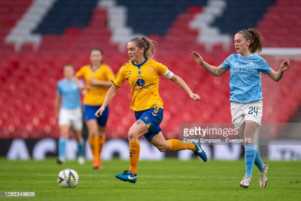 Lucy Graham of Everton on the ball during the Vitality Women's FA Cup Final match between Everton Women and Manchester City Women at Wembley Stadium...