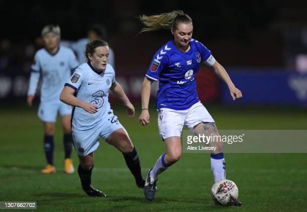Lucy Graham of Everton Women beats Erin Cuthbert of Chelsea Women during the Barclays FA Women's Super League match between Everton Women and Chelsea...