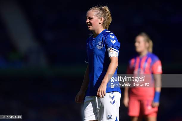 Lucy Graham of Everton Women during the Women's FA Cup Quarter Final match between Everton and Chelsea at Goodison Park on September 27 2020 in...