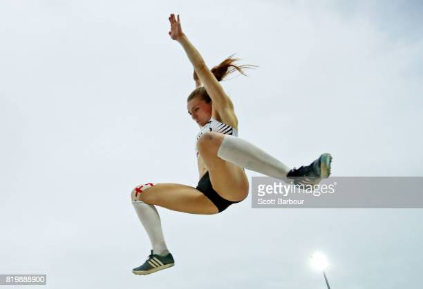 Lucy Hadaway of England competes in the Girls Long Jump Final during the Athletics on day 3 of the 2017 Youth Commonwealth Games at Thomas A Robinson...