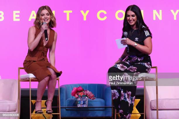 Lucy Hale and moderator Tamara Dhia speak on a panel during Beautycon Festival NYC 2018 Day 2 at Jacob Javits Center on April 22 2018 in New York City