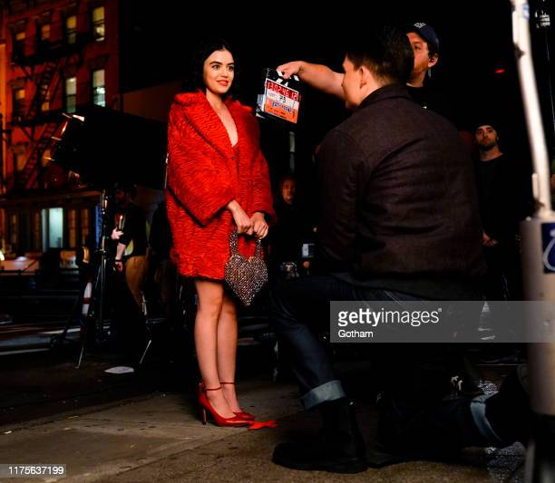 Lucy Hale and Zane Holtz on location for 'Katy Keene' in a scene where Holtz's character gets robbed of the engagement ring as he is proposing to...