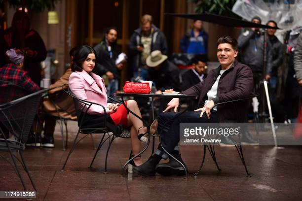 Lucy Hale and Zane Holtz seen on location for 'Katy Keene' on the streets of Manhattan on October 9 2019 in New York City