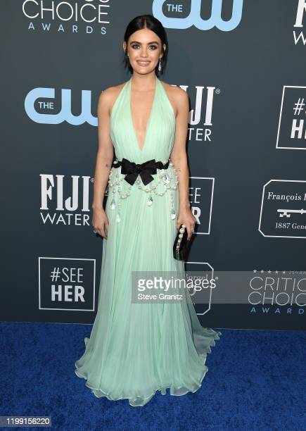 Lucy Hale arrives at the 25th Annual Critics' Choice Awards at Barker Hangar on January 12 2020 in Santa Monica California