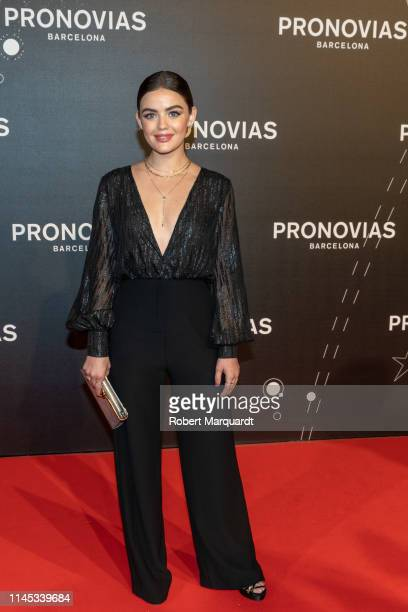 Lucy Hale attends Pronovias' show during Valmont Barcelona Bridal Fashion Week at Fira Barcelona Montjuic on April 26 2019 in Barcelona Spain