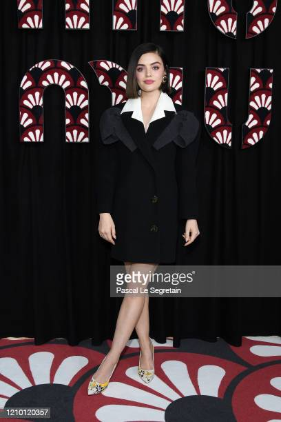 Lucy Hale attends the Miu Miu show as part of the Paris Fashion Week Womenswear Fall/Winter 2020/2021 on March 03, 2020 in Paris, France.