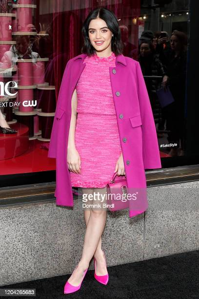 Lucy Hale celebrates Katy Keene windows at Saks Fifth Avenue on February 05 2020 in New York City