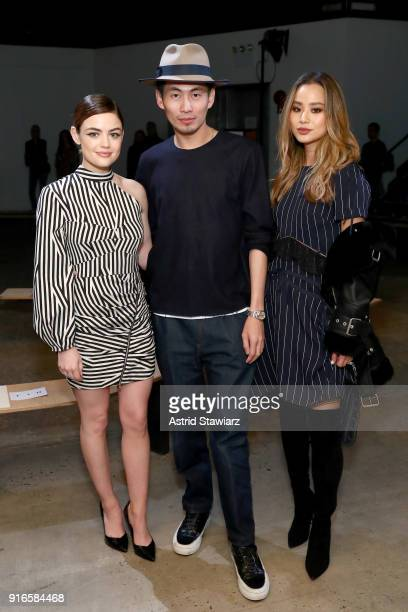 Lucy Hale Han Chong and Jamie Chung attend the SelfPortrait Fall Winter 2018 Front Row New York Fashion Week at SIR Stage37 on February 10 2018 in...