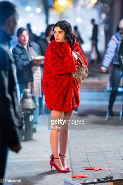 Lucy Hale is seen filming on location for 'Katy Keene' in the Lower East Side on September 18 2019 in New York City