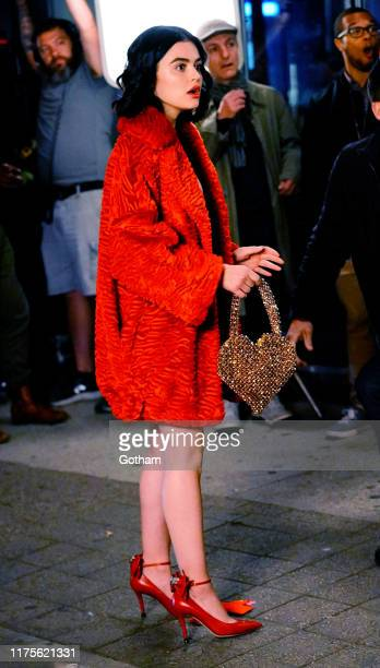 Lucy Hale is seen filming on location for 'Katy Keene' on September 18 2019 in New York City