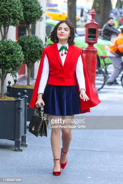 Lucy Hale is seen on movie set of the 'Katy Keene' on March 26 2019 in New York City