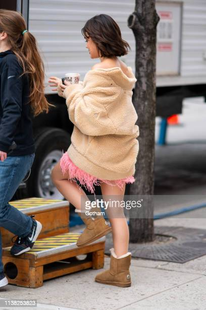 Lucy Hale is seen on set for 'Katy Keene' in the East Village on March 25 2019 in New York City