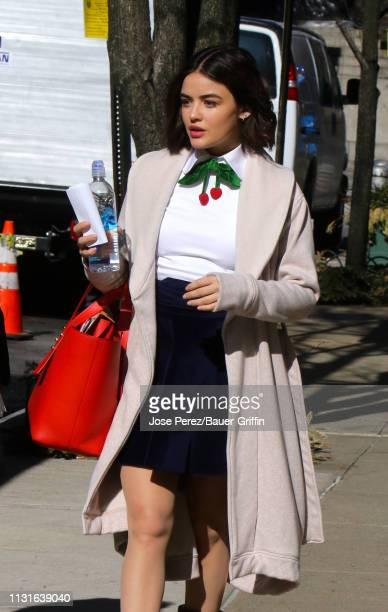 Lucy Hale is seen on the set of 'Katy Keene' on March 19 2019 in New York City