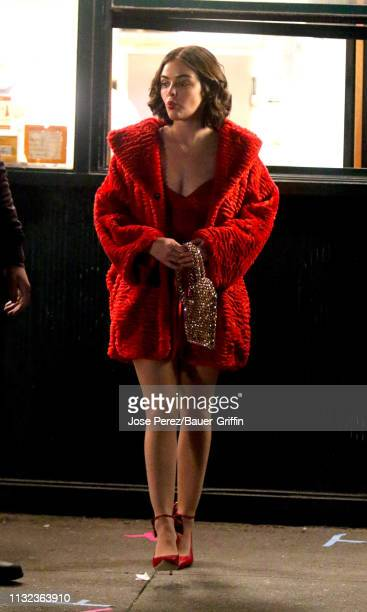 Lucy Hale is seen on the set of Katy Keene on March 23 2019 in New York City