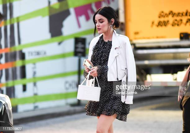 Lucy Hale is seen outside the Jason Wu show during New York Fashion Week S/S20 on September 08, 2019 in New York City.