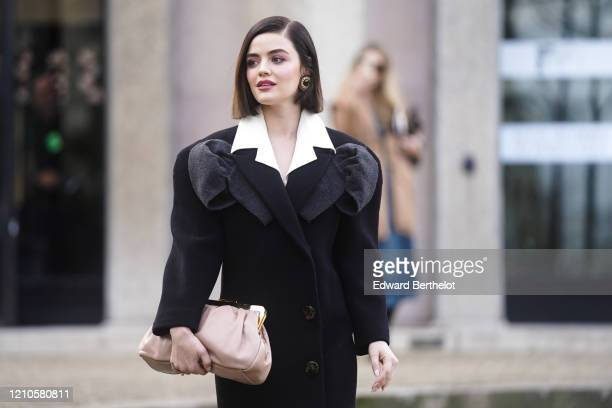 Lucy Hale is seen outside the Miu Miu show, during Paris Fashion Week Womenswear Fall/Winter 2020/2021, on March 03, 2020 in Paris, France.